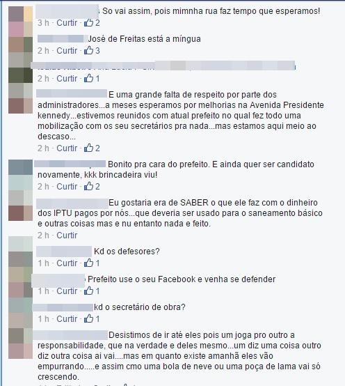 Usando a rede social facebook, população comenta situação de  moradores da Rua Pacajus
