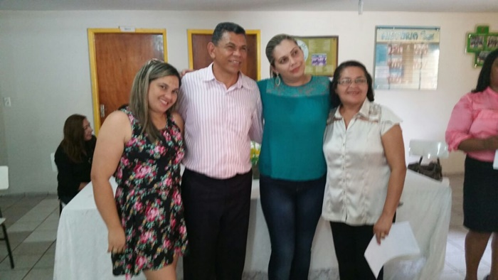 Professora Socorro Coelho, dep. João de Deus, gerente da GRE Claudiane e supervisora Alzemir