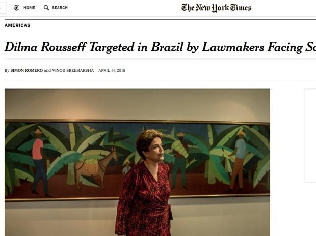 """Título da matéria diz: """"Dilma Rousseff alvejada no Brasil por legisladores envolvidos em escândalos"""""""