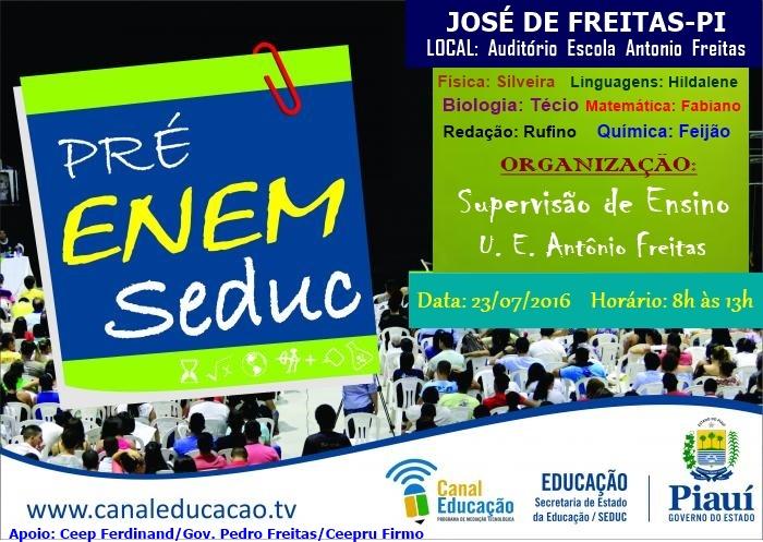 1ª Revisão para o Enem 2016 em José de Freitas acontecerá neste sábado, dia 23