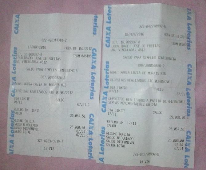 Extrato tirado na lotérica no dia 17/11/16 pela comerciante Xuxa